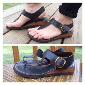 Miss Constance Leather Buckle Strap Sandals